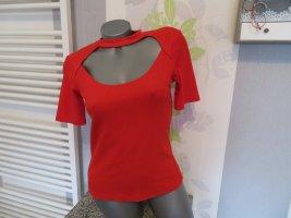 Zara Trafaluc Ribbed Shirt red polyester