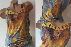 NEW! Glitter MISSY Top/Shirt - Größe L 38/40 - Yellow/Blue