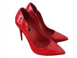 New Juliet Silver lack Rot Pumps, Red High Heels, Peep Toes Silber Size 39