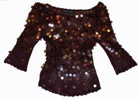 Nicowa Top en maille crochet brun pourpre viscose