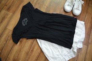 Niedliches schwarzes T-Shirt mit Rüschen Gr. 38 edc