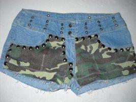 Nieten Camouflage Jeans Shorts Hot Pants Hose blau Tarn braun grün 36 38 S H M