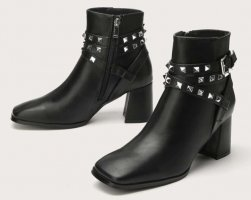 SheIn Wedge Booties black-silver-colored