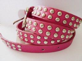 Cinturón de pinchos rosa neón-gris claro