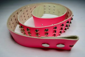 Studded Belt pink-silver-colored leather
