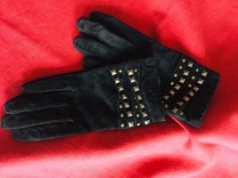 Leather Gloves black-silver-colored
