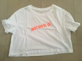 Nike Cropped Shirt T-Shirt Größe S weiß just do it orange