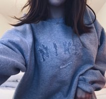 Nike Sweater Fire Sweatshirt Crewneck Grey Oversized Pullover Pulli