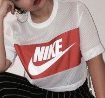 Nike Camicia cropped bianco-rosso