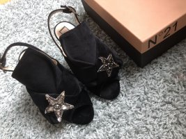 No 21 Bow Velvet Sandals crystal stars