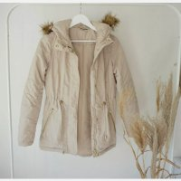 Noisy May Parka Jacke Fellimitat beige Winterjacke tailliert
