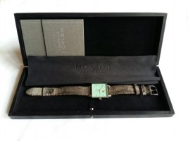 Glashütte Watch With Leather Strap silver-colored-turquoise