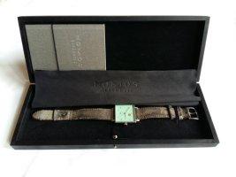 Glashütte Horloge met lederen riempje zilver-turkoois