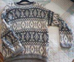 Norweger Pullover Strickpulli Handmade Skandi Casual-look Wollpullover Alpaca M