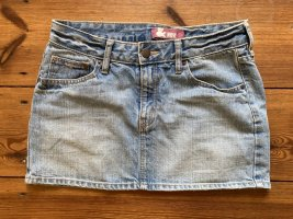 &now: Heller blauer Jeans-Minirock, mit Potaschen, Gr xs/ 34/ 158