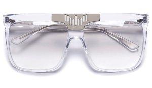 Wanda Nylon Lunettes de soleil angulaires gris clair-blanc acétate