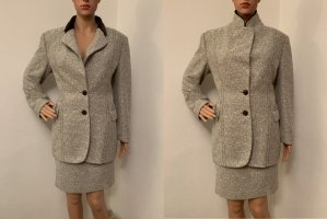 NP 629€ Designer Business Winter Herbst boucle Anzug Blazer Rock Jacke 38 Wolle Samt Velour Kragen M