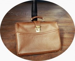 True Vintage Briefcase cognac-coloured leather