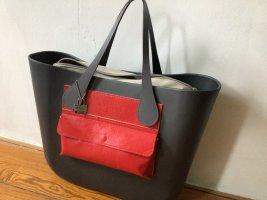 O bag Borsa con manico rosso neon-grigio Tessuto misto
