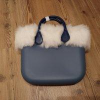 O bag Shopper blanc-bleu