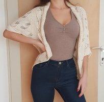Oasis Cardigan Weiß Creme Baunwollle Cotton Strickjacke Größe M