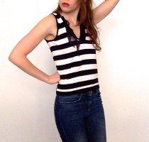Luisa Cerano Tanktop wit-donkerblauw Viscose