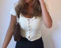 Bershka Cropped Shirt pale yellow