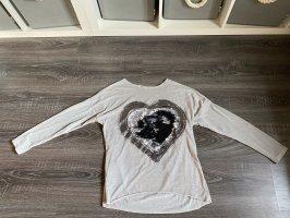 Oberteil Pullover Shirt Herz Pailletten Wechselbar Silber schwarz grau Glitzer strass beige