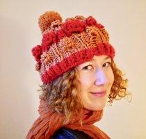 DIY Sombrero de punto multicolor tejido mezclado
