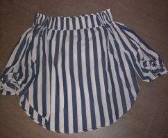 H&M Bluzka typu carmen biały-ciemnoniebieski