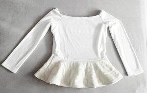 Top sin hombros blanco-blanco puro