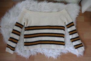 Off-Shoulder Pullover mit Streifen