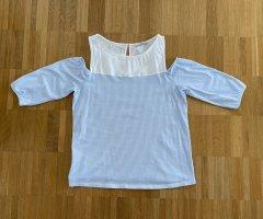 Off-Shoulder-Shirt v. Edc in weiß/hellblau Gr. S