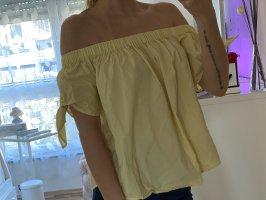 H&M Top spalle scoperte giallo pallido