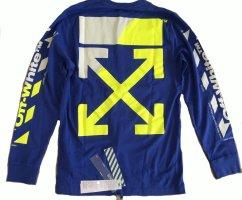OFF-WHITE - ORIGINAL Pullover/Shirt - Gr. M - jeansblau/neon-gelb/weiss ++ NEU & UNGETRAGEN ++