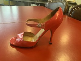 Marc Jacobs Peep Toe Pumps red-pink leather