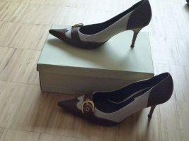 Office Pumps / Heels von Dune (UK), Gr.39/40, Leinen/Leder, NP 90€
