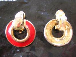 Pendientes de clip color oro-rojo metal