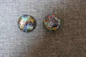 Oorclips staalblauw-goud Gemengd weefsel
