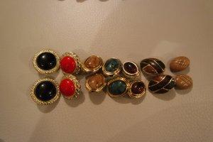 Ohrclips Clips Konvolut von 7 Paar rund und oval, echt vintage aus den 80ern und 90ern, retro