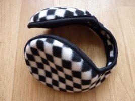Ohrenschützer schwarz weiss kariert Ohrenwärmer Karomuster warme Winter Accessoires