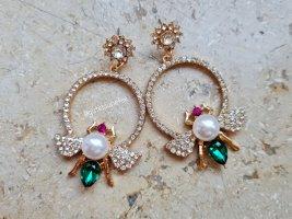 Ohrhänger mit Strass Steinen und Perlen * kleine Bienen