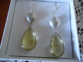 Dangle lime yellow-silver-colored