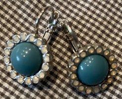 Pendant d'oreille argenté-turquoise