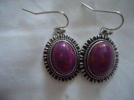 Wiszące kolczyki jasnoszary-purpurowy