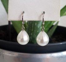 Hand made Pendientes de perlas blanco-color plata