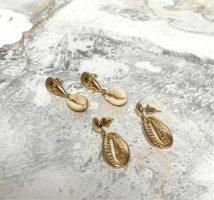 Ohrring Set neu - 2 Paar Ohrringe Gold Muschel Stecker Ohrringe