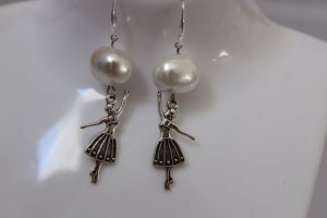 handmade Dangle white-silver-colored