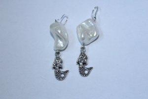 handmade Orecchino a pendente bianco-argento