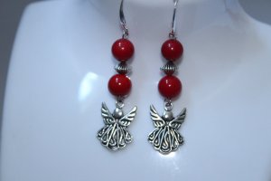 handmade Dangle red-silver-colored
